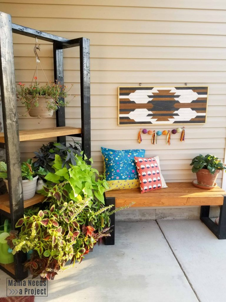 diy front porch furniture, plants and outdoor pillows