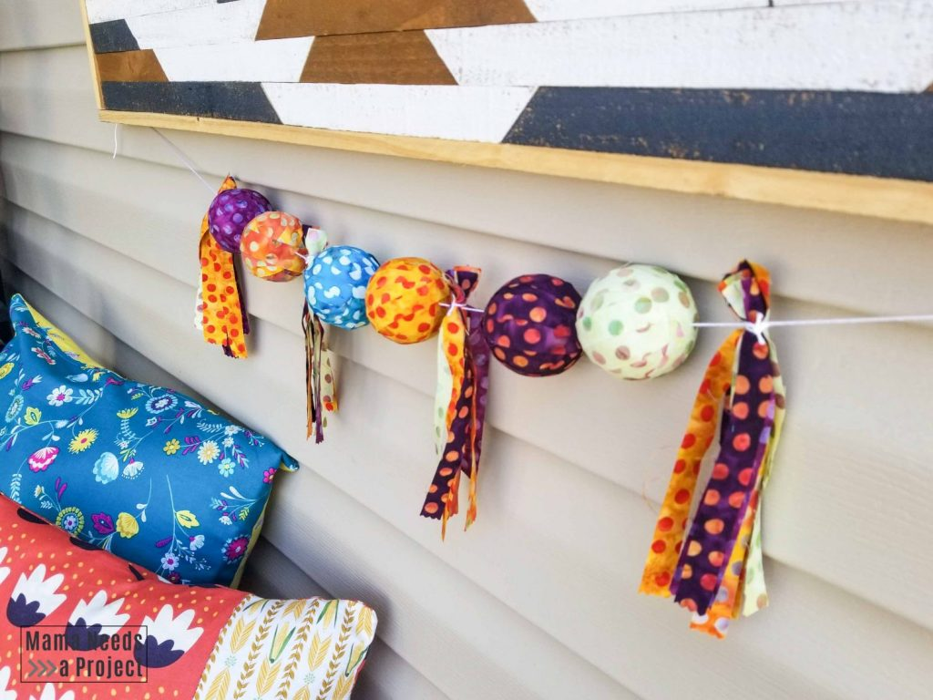 colorful scrap fabric garland