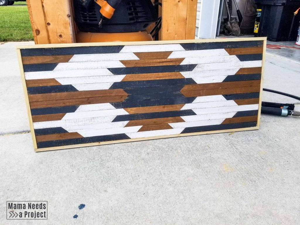 Geometric wood wall art with frame