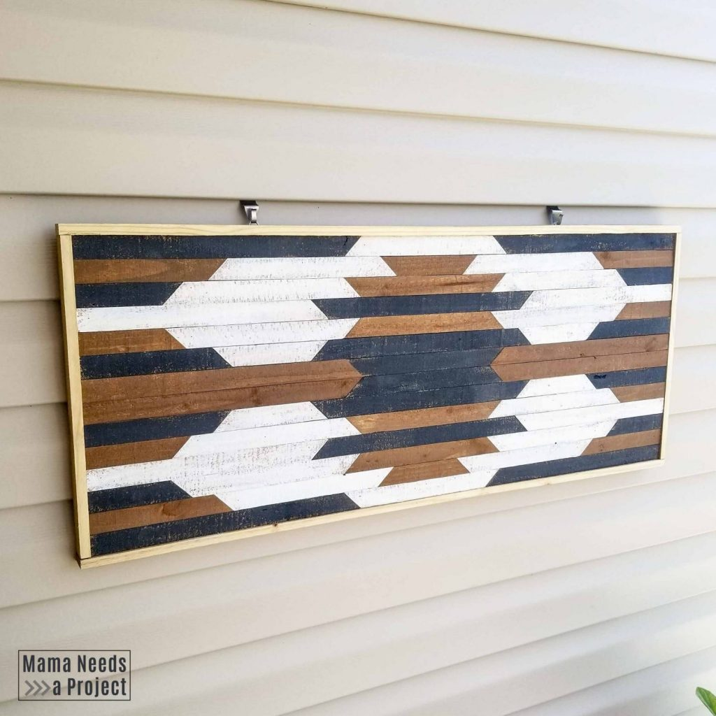 diy geometric wall art on exterior wall, vinyl siding