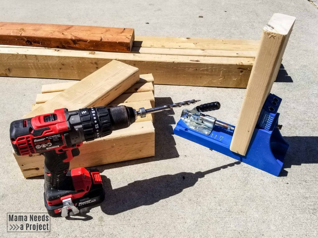 kreg jig for pocket holes with drill and boards