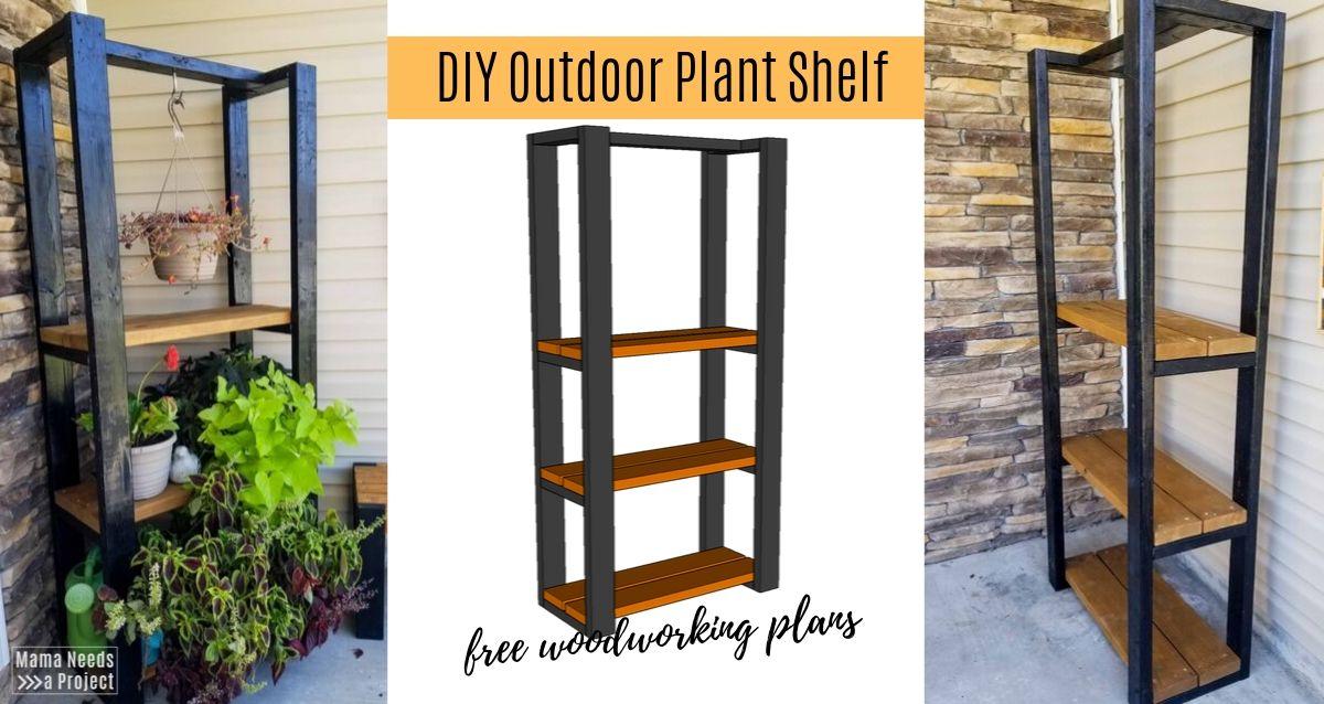DIY outdoor plant shelf, free woodworking plans