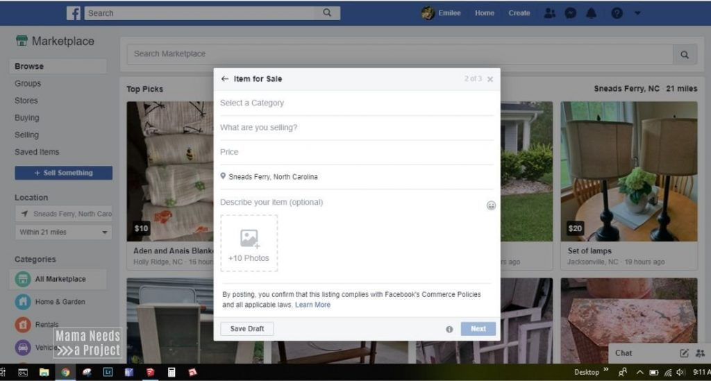 screenshot of creating a listing to learn how to how to sell on Facebook Marketplace