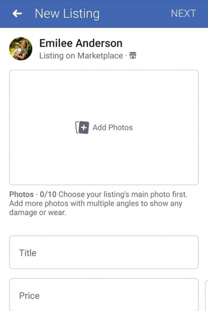 create new listing to sell an item on facebook marketplace