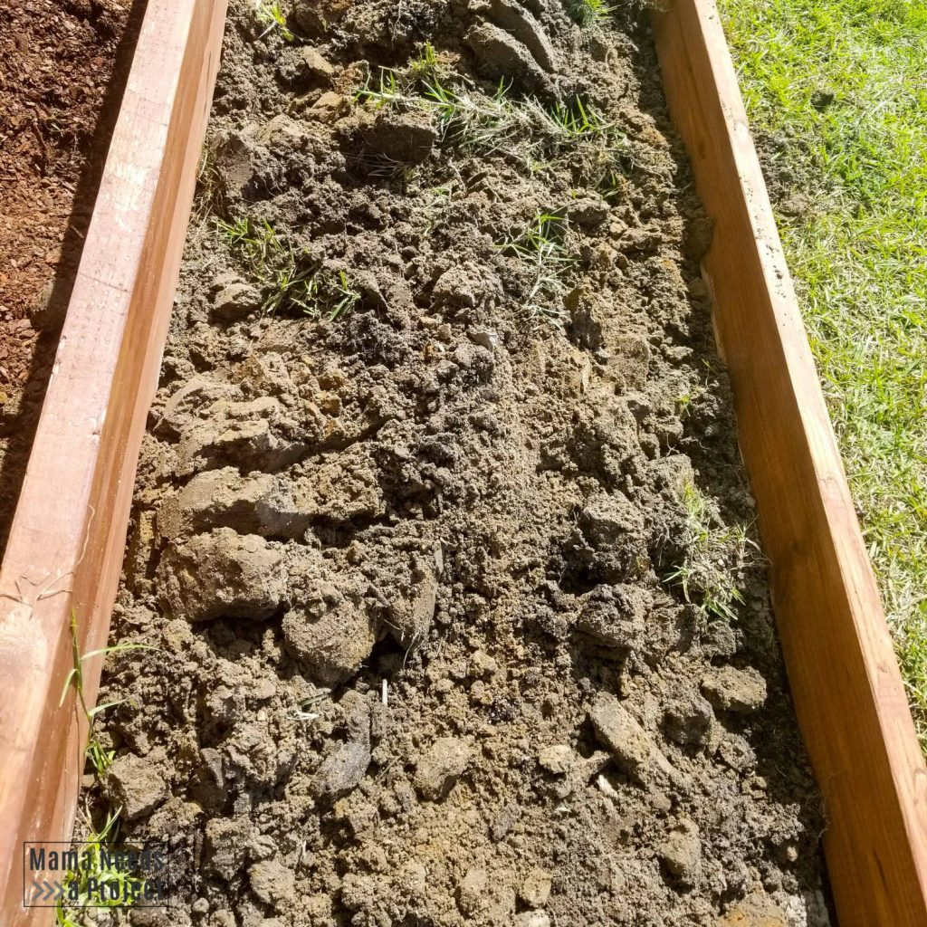 break up clay soil within raised flower bed
