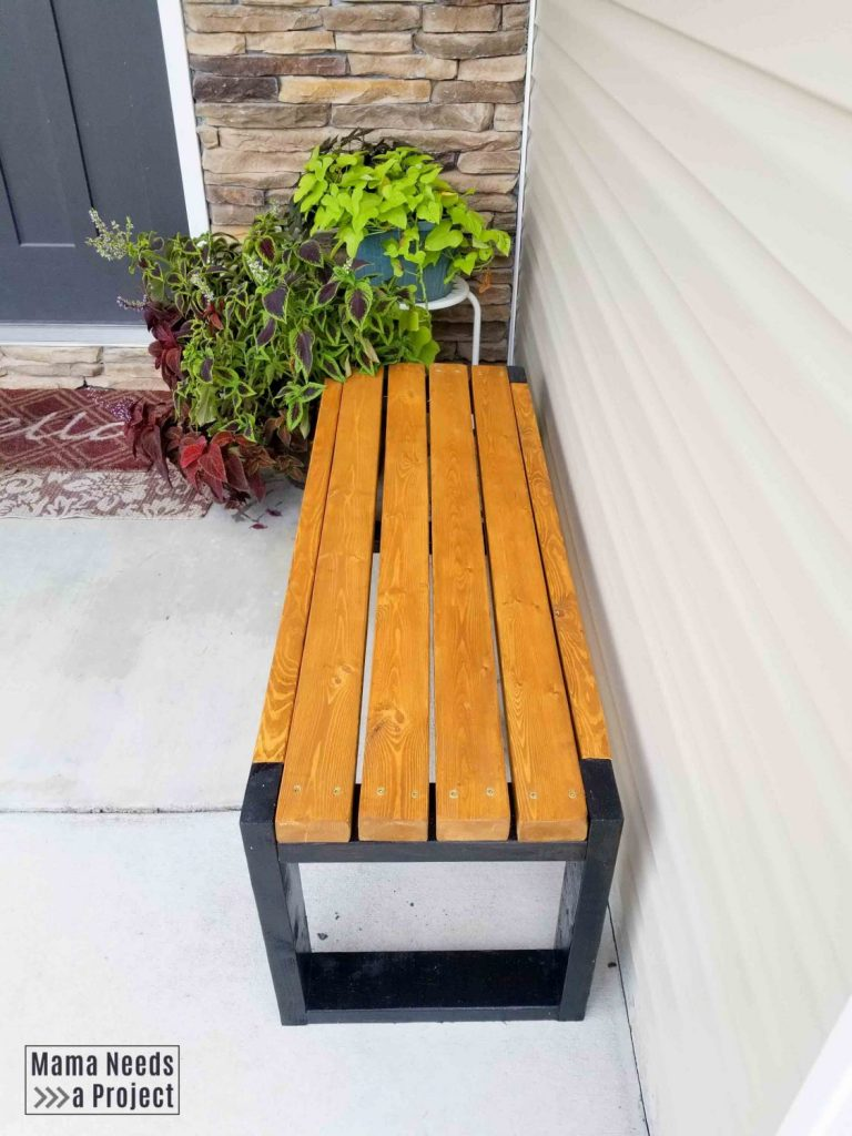 simple 2x4 bench plans, front porch bench with plants
