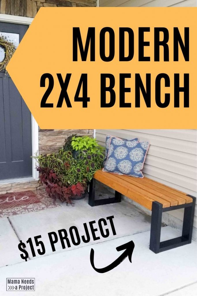 modern 2x4 bench, $15 project