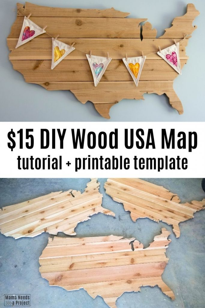 $15 DIY Wood USA Map, tutorial + printable template, pictures of completed wood maps