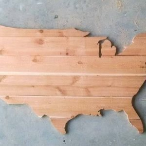 DIY Wood USA Map made of cedar fence pickets, natural finish