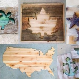 several woodworking projects created by cutting shapes with a jigsaw
