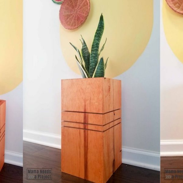 3 photos of different angles of diy modern wood planter