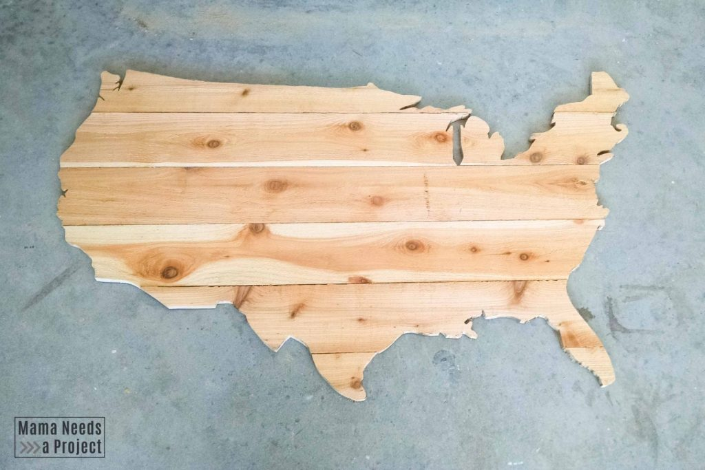 large diy wood usa map made of cedar fence pickets