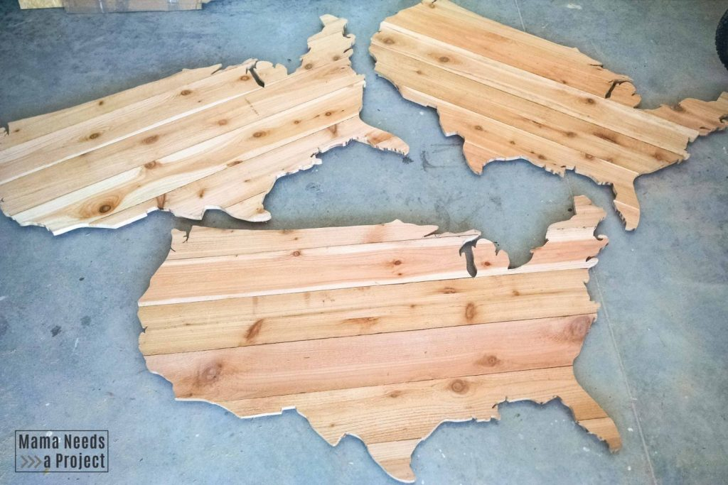 3 completed USA wood maps made of cedar fence pickets