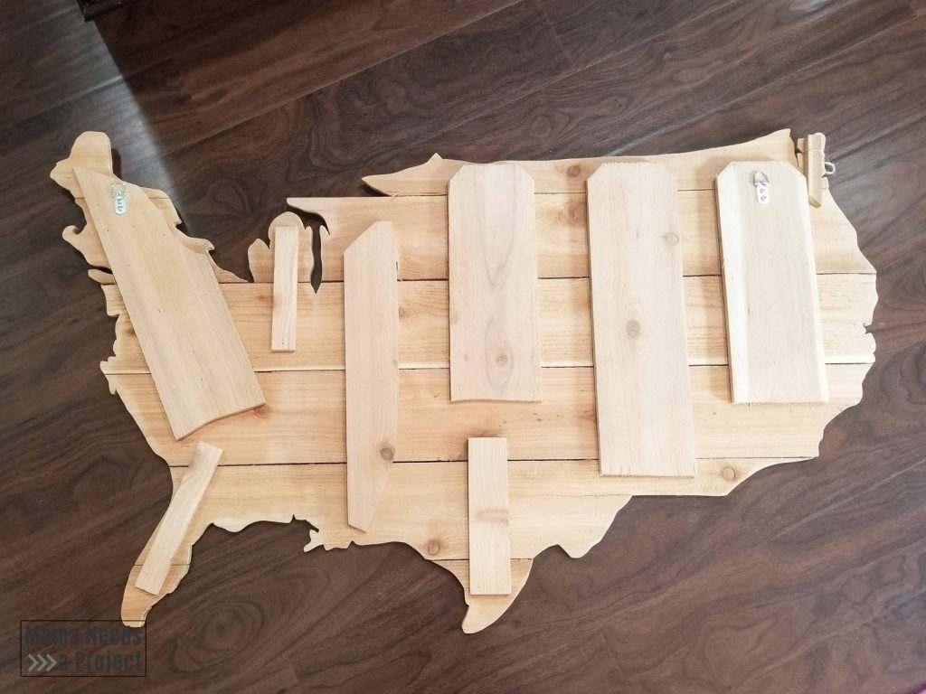 use scrap wood to connected wood USA map pieces from the back