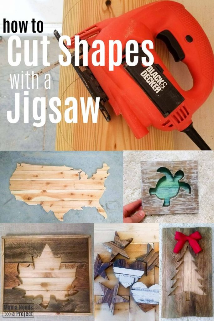 how to cut shapes with a jigsaw, multiple pictures of woodworking projects made with a jigsaw