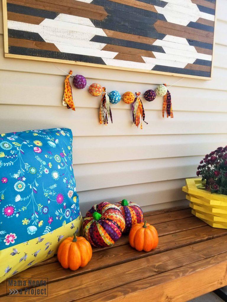 colorful fall front porch decor