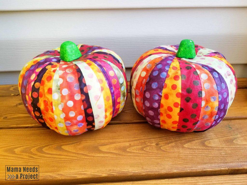 completed scrap fabric pumpkins