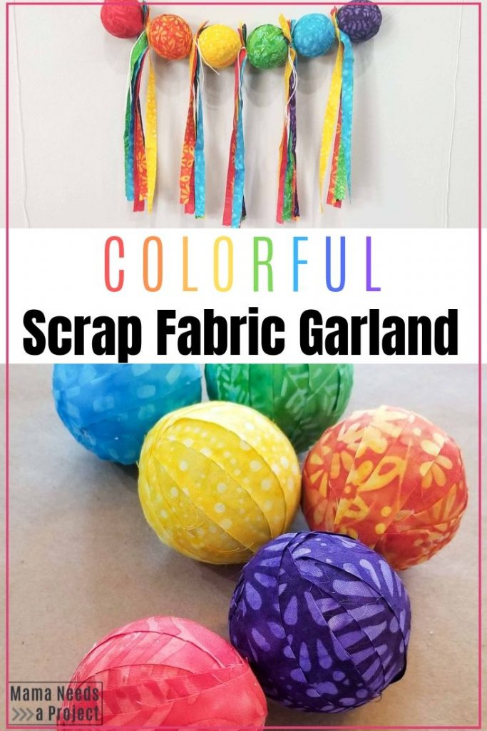 colorful scrap fabric garland with balls and tassels