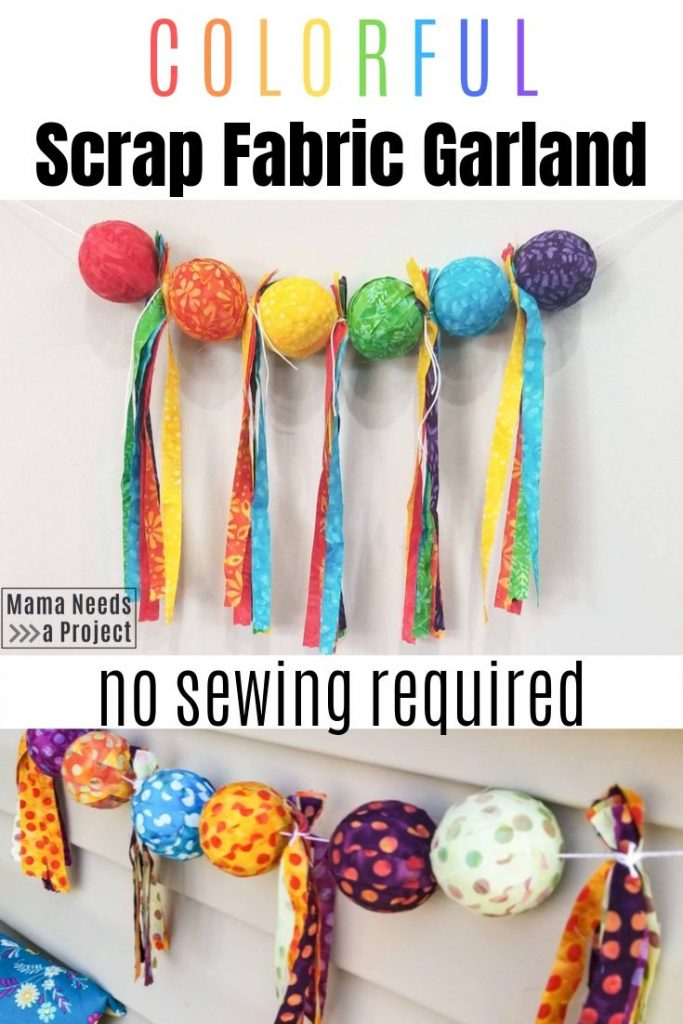 colorful scrap fabric garland, no sewing required