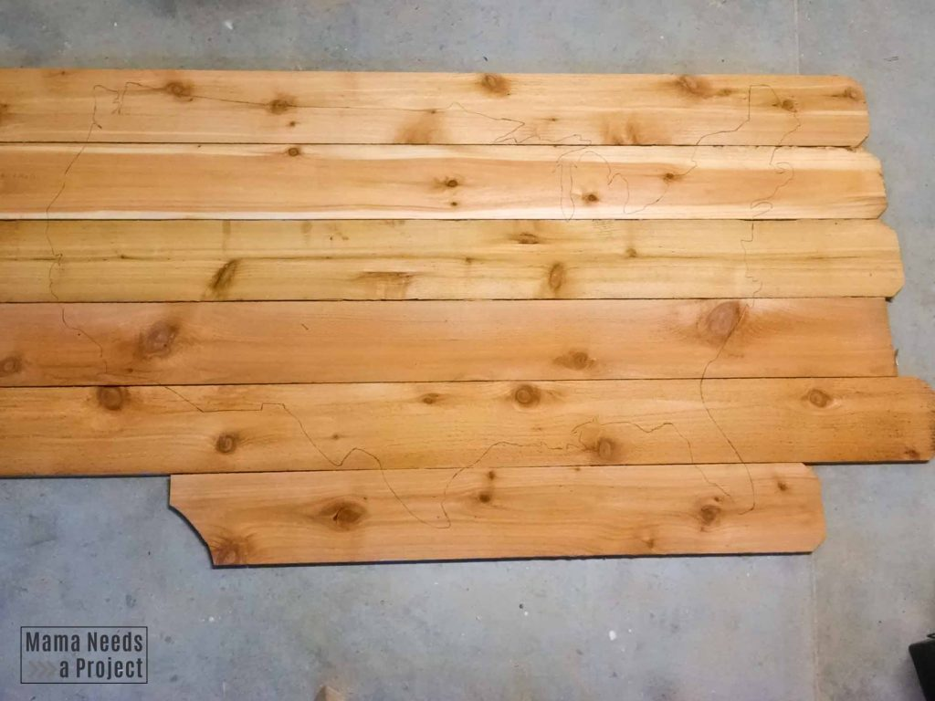 trace usa map outline onto cedar fence pickets using template