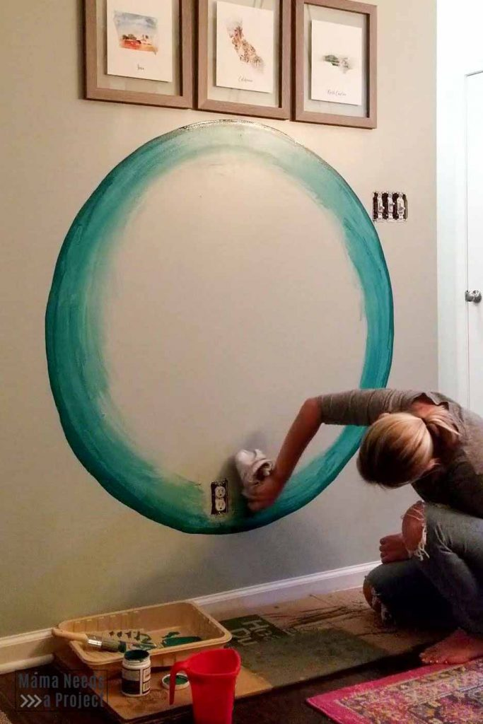 blend paint with rag for diy watercolor wall paint technique