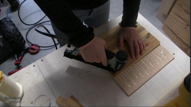 use pin nailer to create backing