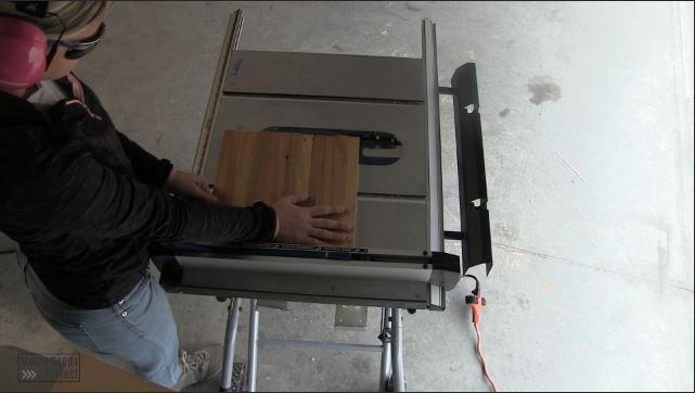 trim down backing on a table saw