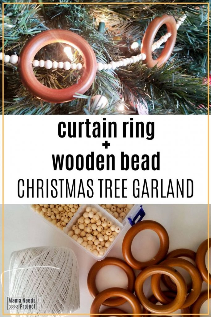 curtain ring + wooden bead christmas tree garland