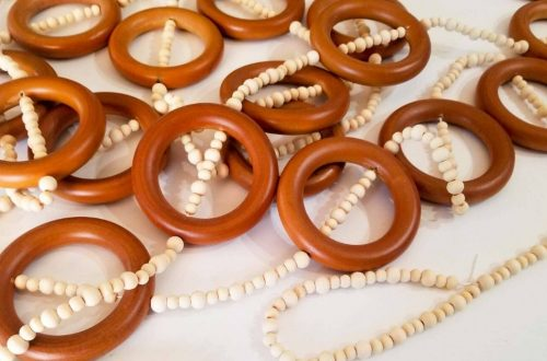 wooden bead and wooden curtain ring garland