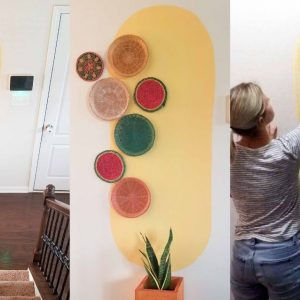 how to paint a big yellow oval on the wall