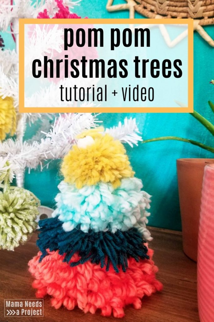 pom pom christmas trees tutorial and video