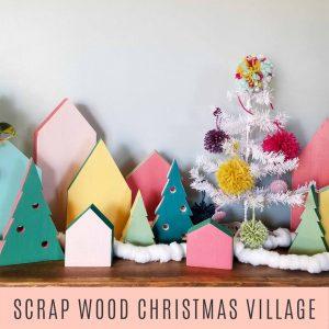 diy colorful christmas project, scrap wood christmas village