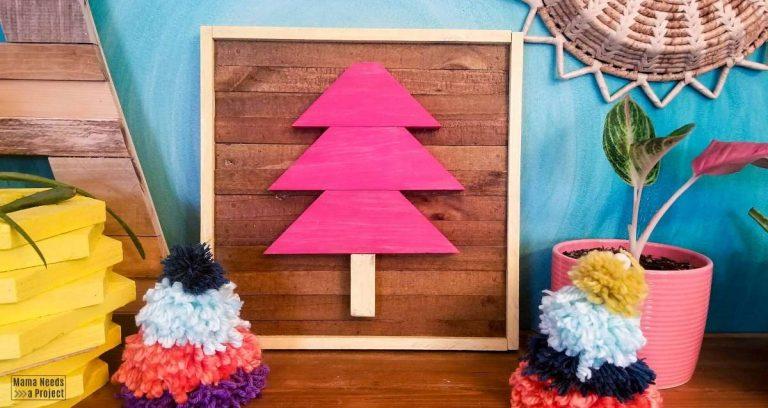 Scrap Wood Framed Christmas Tree