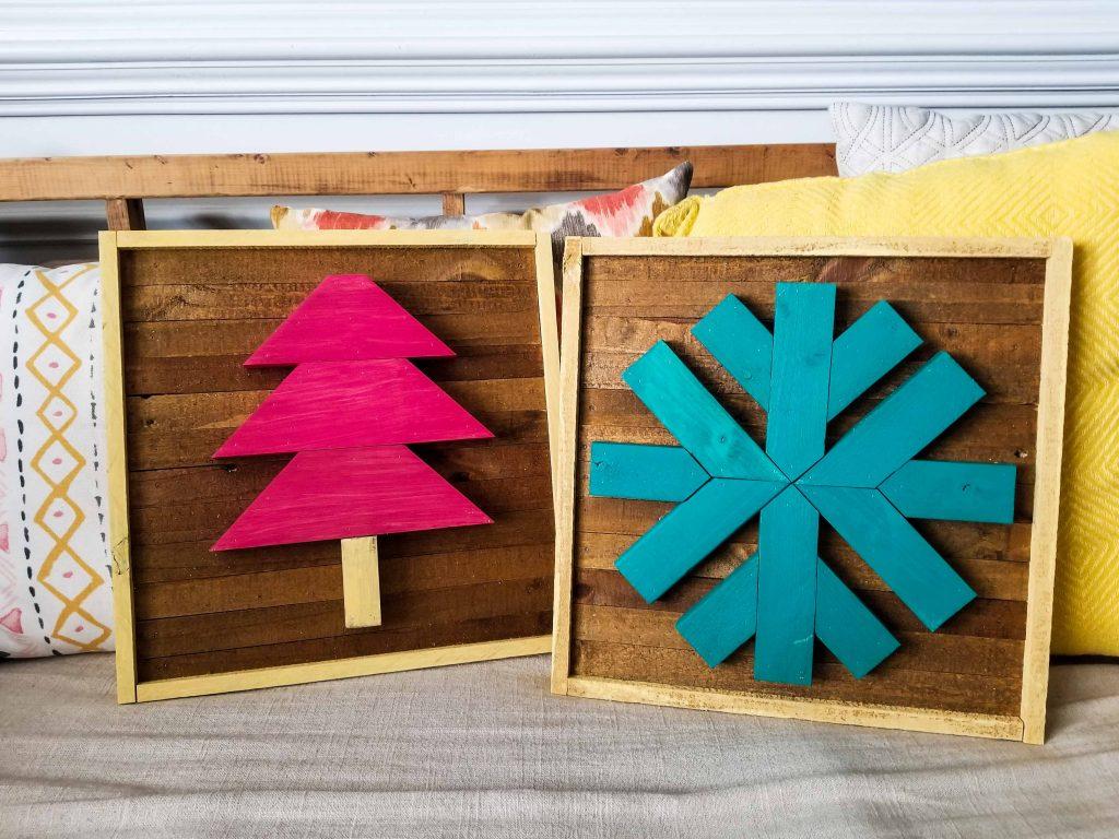 scrap wood christmas tree and scrap wood snowflake