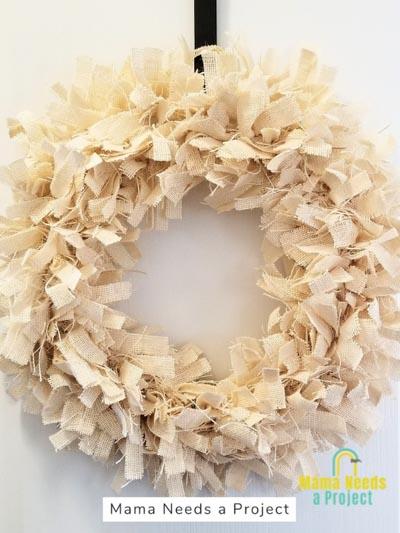white burlap rag wreath