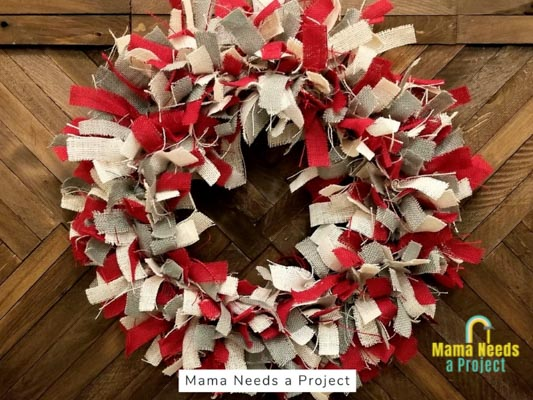 red white and blue burlap rag wreath