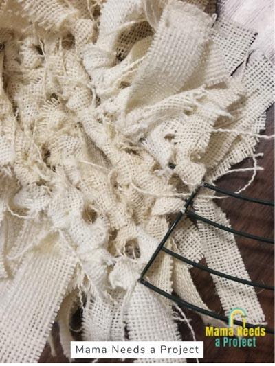 back of burlap rag wreath