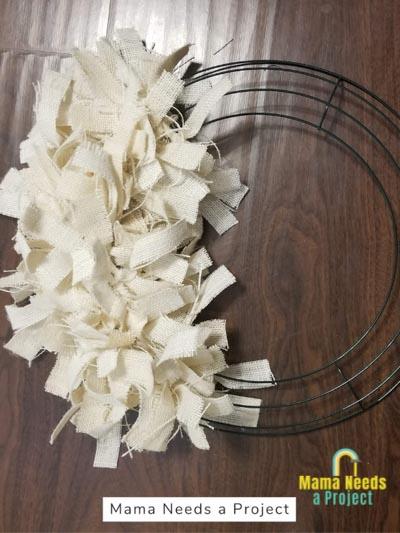 half completed burlap rag wreath