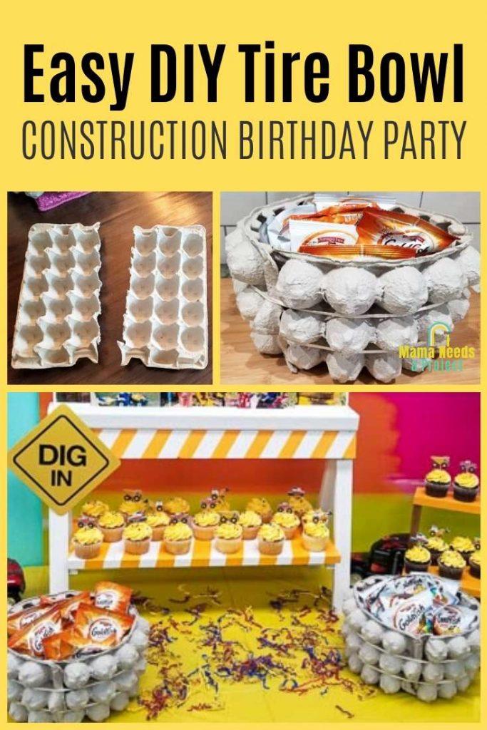 easy diy tire bowl construction birthday party