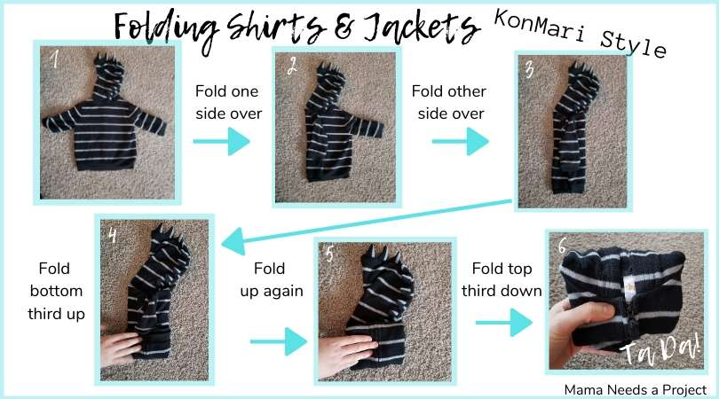 folding baby jackets and shirts konmari style picture graphic