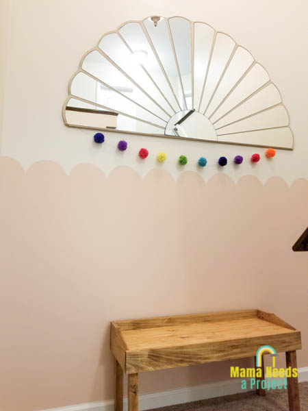 paint a scalloped wall with a diy small modern bench and half flower mirror