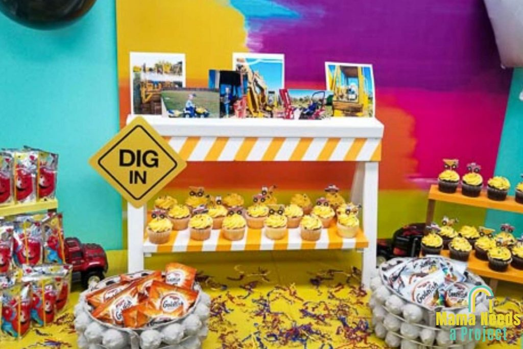 diy construction theme birthday party food table