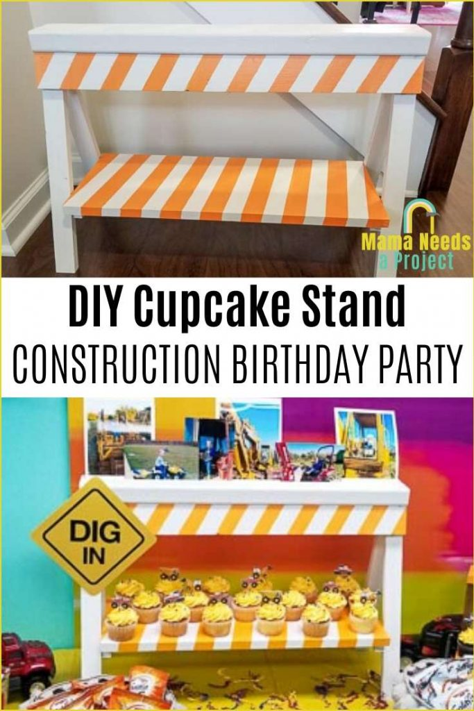 DIY cupcake stand construction birthday party