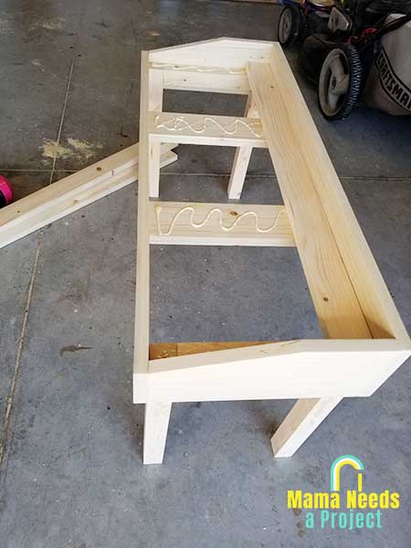 put top on diy small modern bench woodworking project