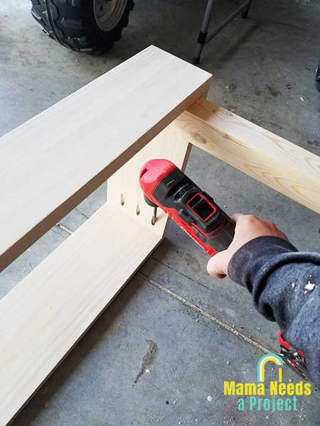 use right angle drill to build small modern bench
