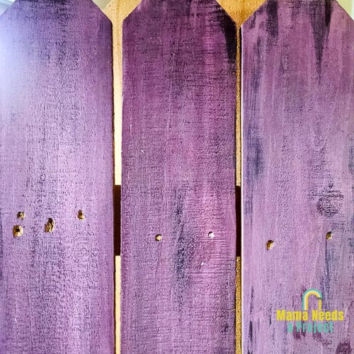 purple fence pickets