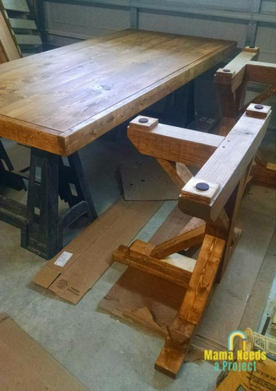 dining room table woodworking project in process