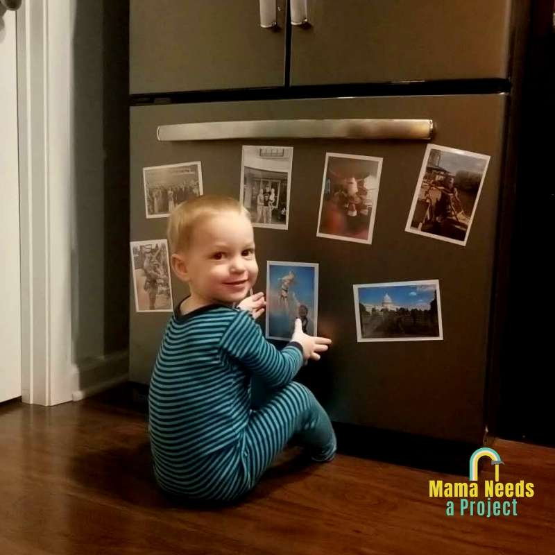 keep photos of the deployed parent available for young children to interact with