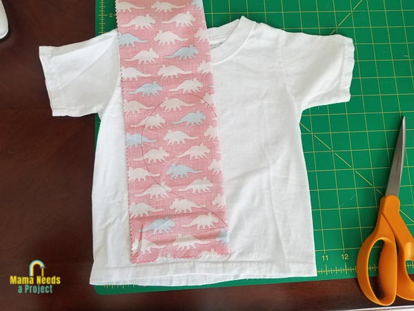 trace heart shape on fabric to cut out for basic applique shirt