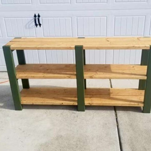 completed basic storage shelf in green and light wood finish
